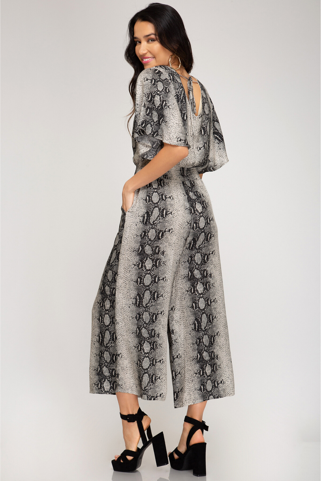 She and Sky Snakeskin SS Smocked Jumpsuit - Front Full Image
