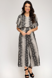 She and Sky Snakeskin SS Smocked Jumpsuit - Product Mini Image