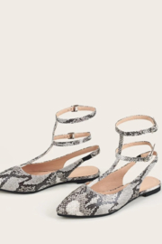 Tiny House of Fashion Snakeskin Strappy Flats - Front cropped