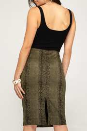She + Sky Snakeskin Suede Midi Skirt - Front full body