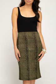 She + Sky Snakeskin Suede Midi Skirt - Product Mini Image