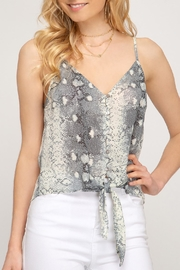 She + Sky Snakeskin Tie-Front Top - Product Mini Image