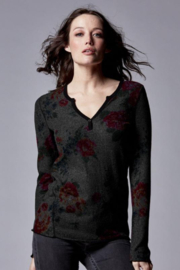 Stone Flowers Snap Front Henley - Front full body