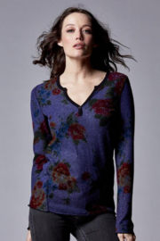 Stone Flowers Snap Front Henley - Front cropped