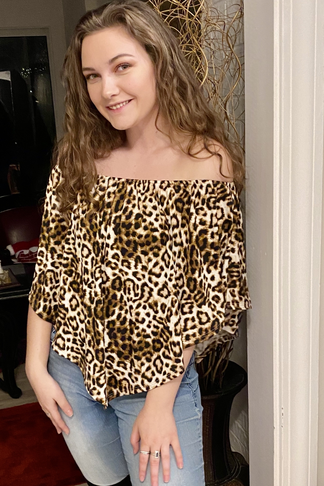 Wild And Personal Snazzy Leopard Print 4 Way Top - Front Cropped Image