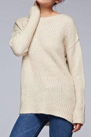 SNAZZY CHIC BOUTIQUE Beige Oversized Sweater - Front cropped