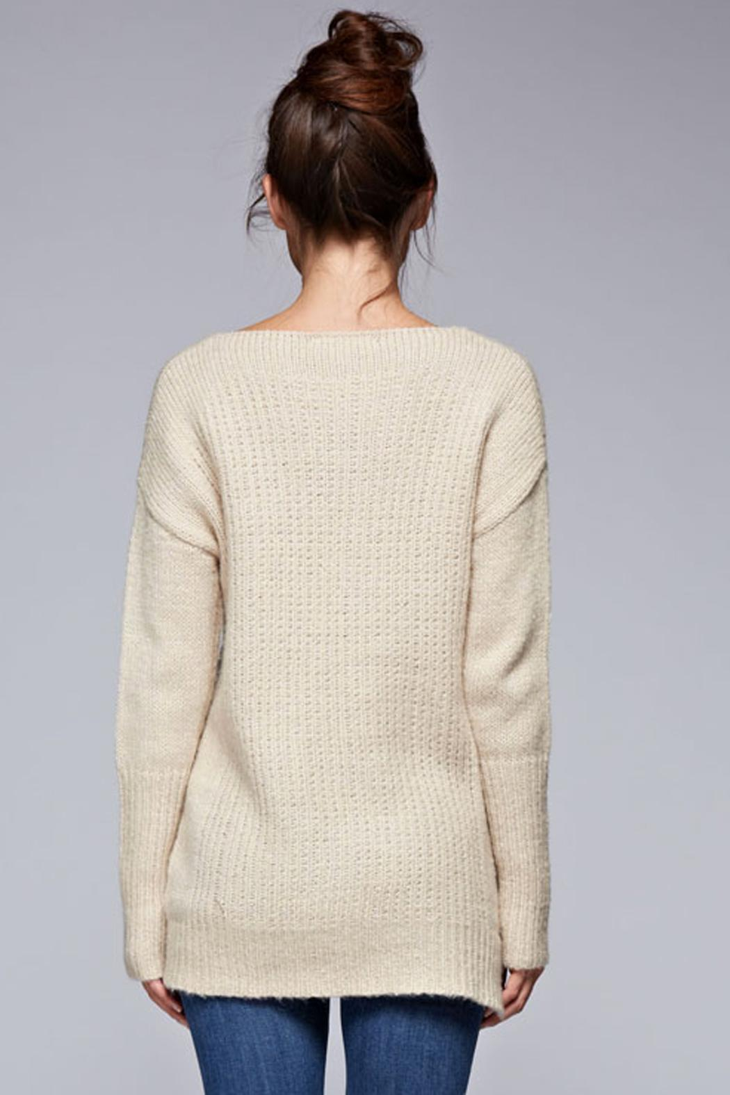 SNAZZY CHIC BOUTIQUE Beige Oversized Sweater - Back Cropped Image
