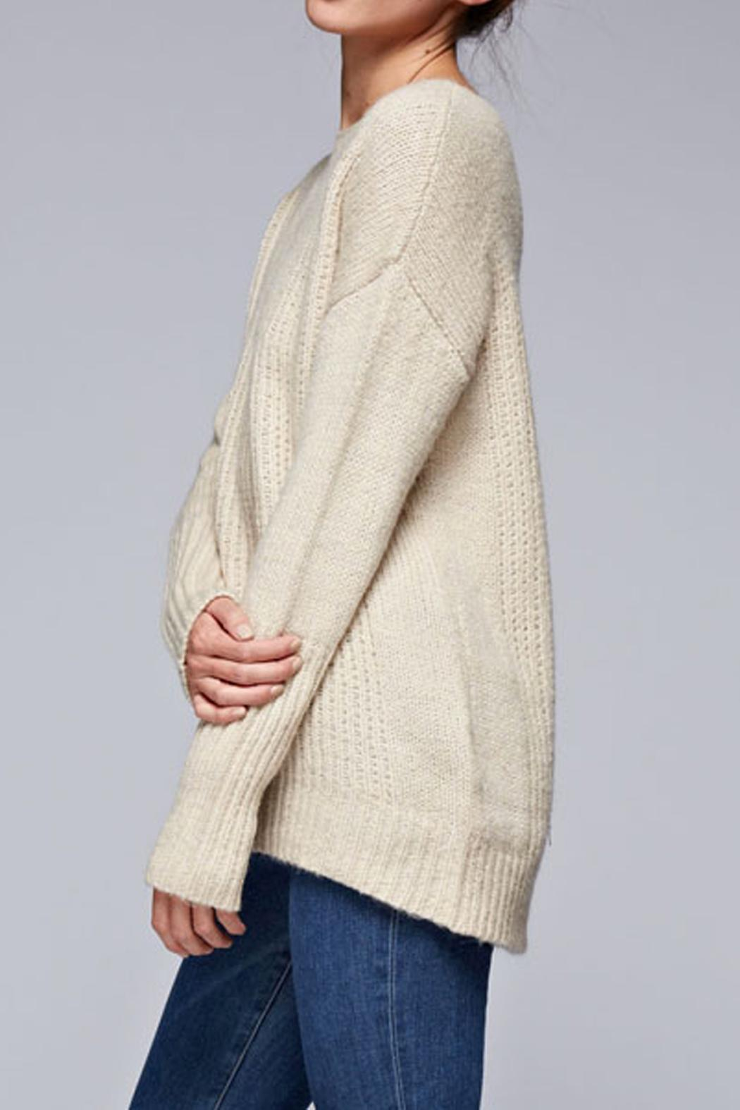 SNAZZY CHIC BOUTIQUE Beige Oversized Sweater - Front Full Image