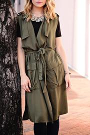 SNAZZY CHIC BOUTIQUE Olive Sleeveless Jacket - Front cropped