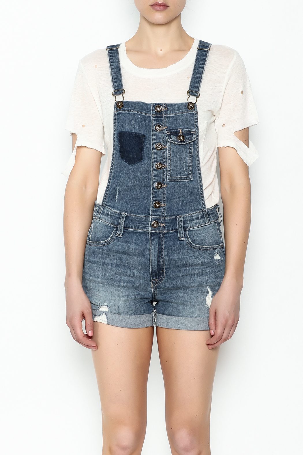 Sneak Peak Button Up Overalls - Front Full Image