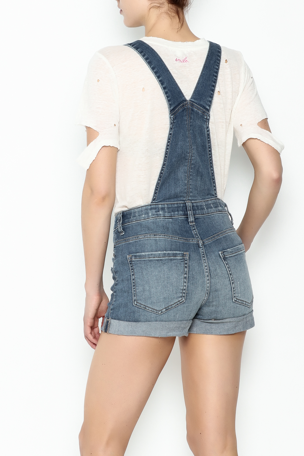Sneak Peak Button Up Overalls - Back Cropped Image
