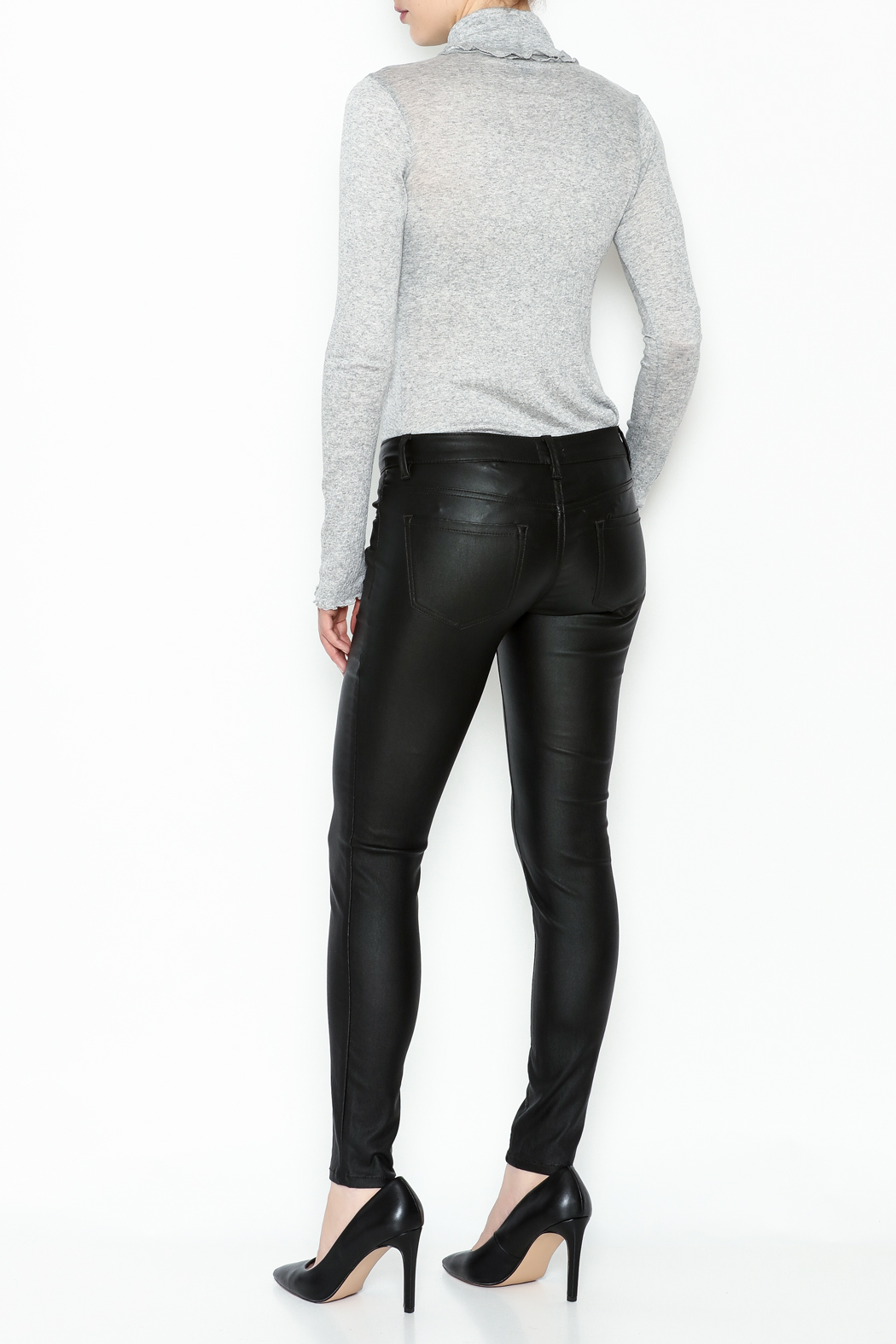 Sneak Peak Coated Skinny Denim Jeans - Back Cropped Image
