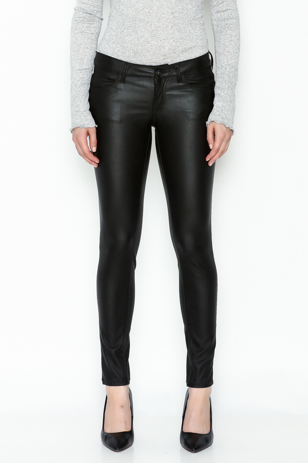 Sneak Peak Coated Skinny Denim Jeans - Front Full Image