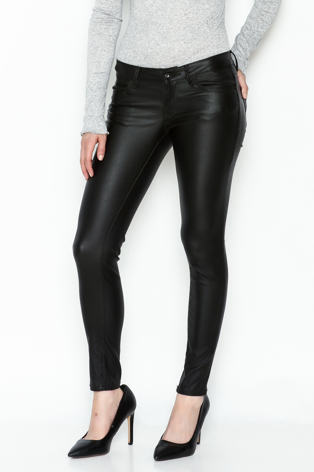 Sneak Peak Coated Skinny Denim Jeans - Main Image