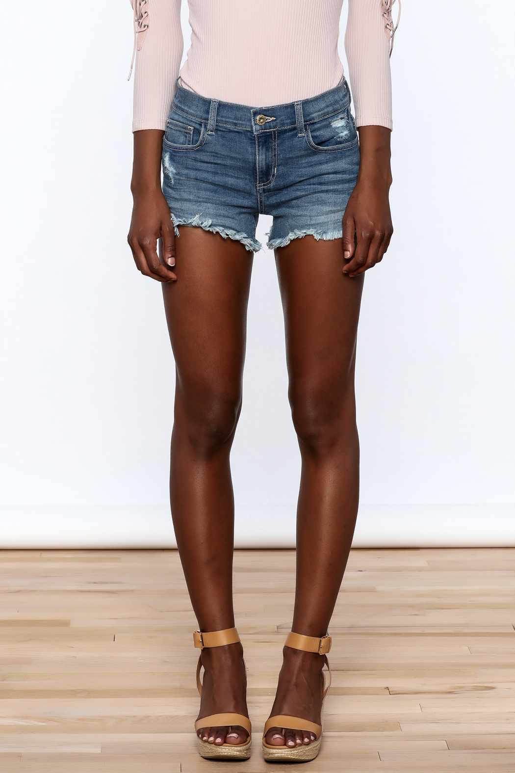 Sneak Peak Denim Mini Shorts - Side Cropped Image