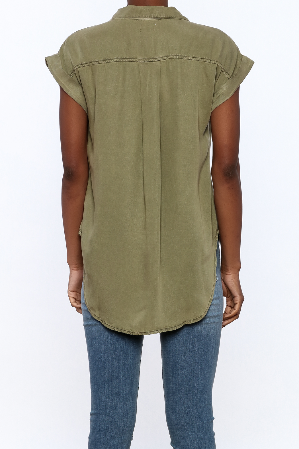 Sneak Peak Military Button Down Shirt - Back Cropped Image