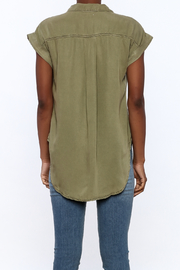Sneak Peak Military Button Down Shirt - Back cropped