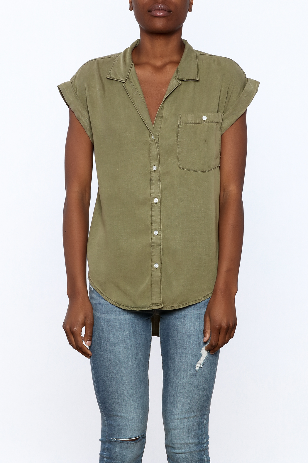 Sneak Peak Military Button Down Shirt - Side Cropped Image