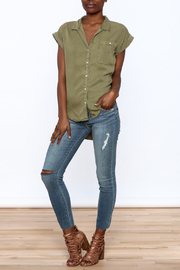 Sneak Peak Military Button Down Shirt - Front full body