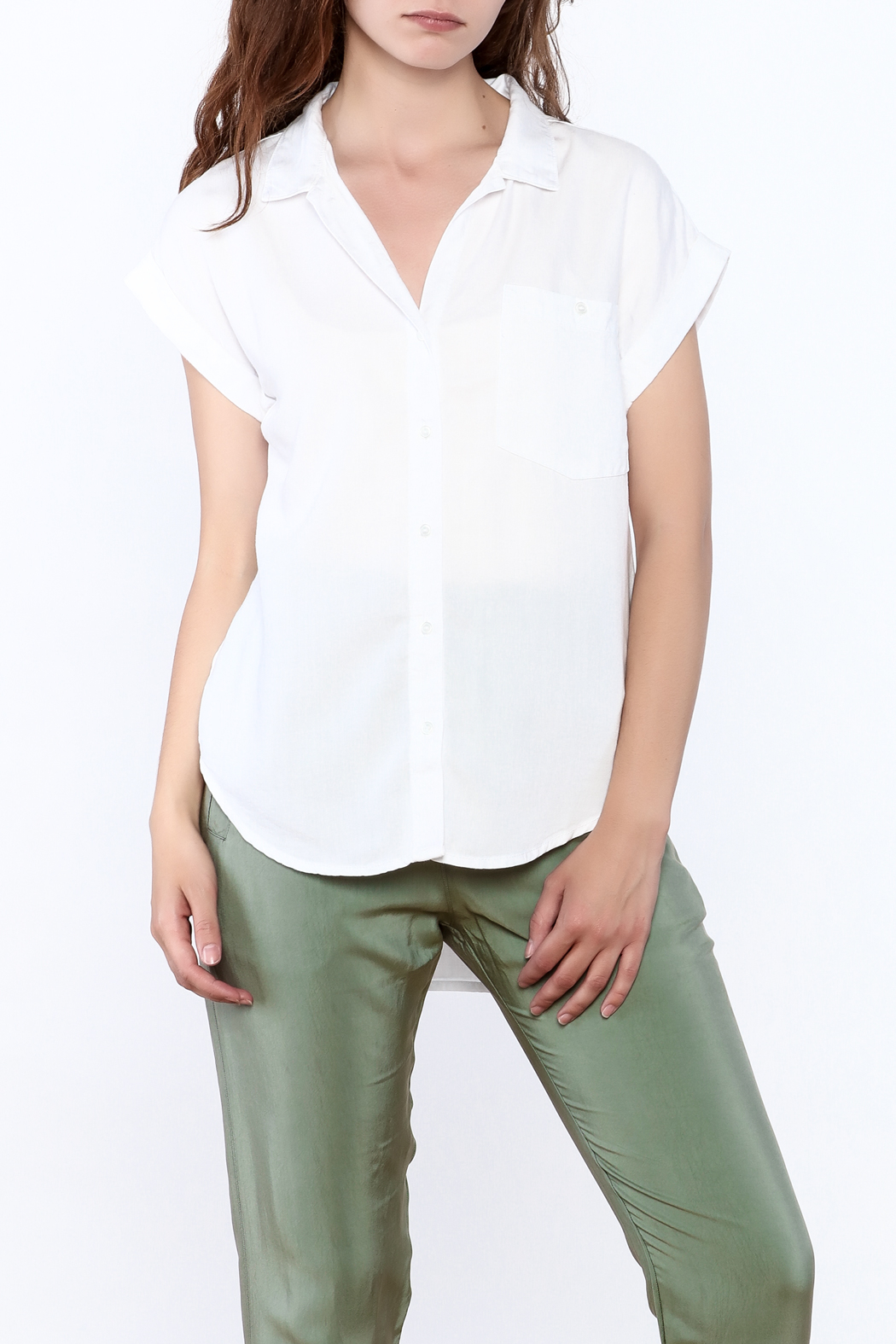 Sneak Peak Military Button Down Shirt - Front Cropped Image