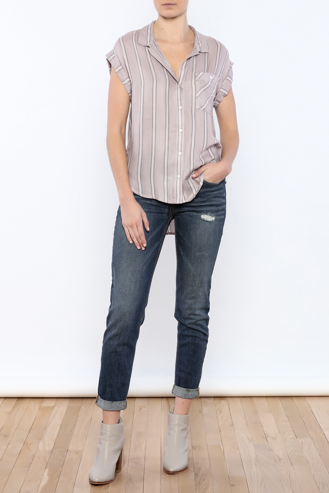 Sneak Peek Striped Button Down Hi-Lo Top - Front Full Image