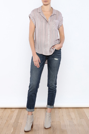 Sneak Peek Striped Button Down Hi-Lo Top - Front full body