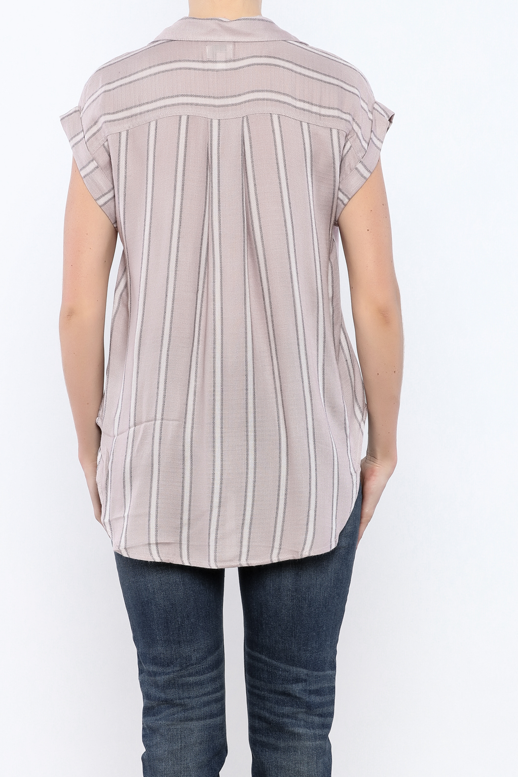 Sneak Peek Striped Button Down Hi-Lo Top - Back Cropped Image