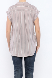 Sneak Peek Striped Button Down Hi-Lo Top - Back cropped