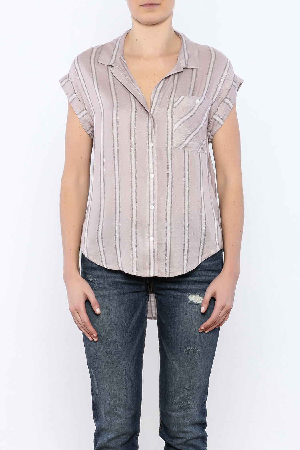 Sneak Peek Striped Button Down Hi-Lo Top - Side Cropped Image