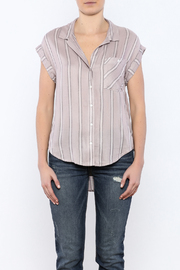 Sneak Peek Striped Button Down Hi-Lo Top - Side cropped