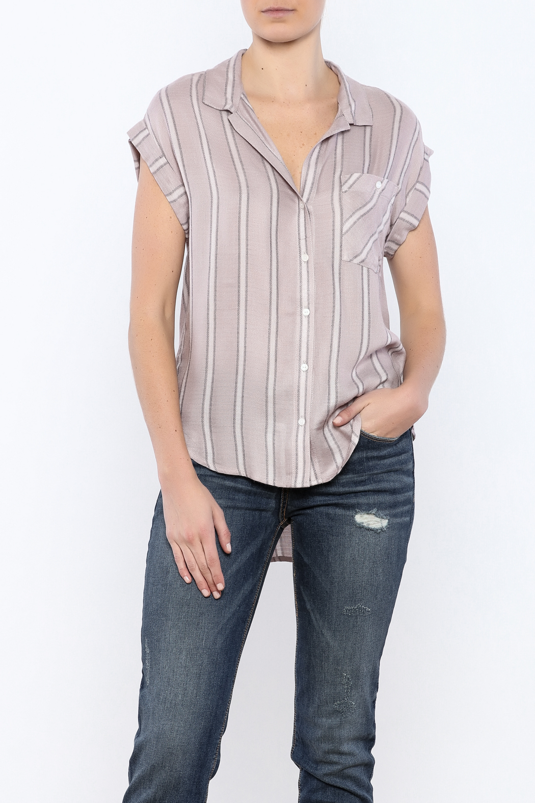 Sneak Peek Striped Button Down Hi-Lo Top - Main Image