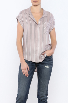 Sneak Peek Striped Button Down Hi-Lo Top - Product List Image