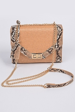 Bag Boutique Sneak Skin Cross Body Chain Strap Straw Clutch - Product List Image