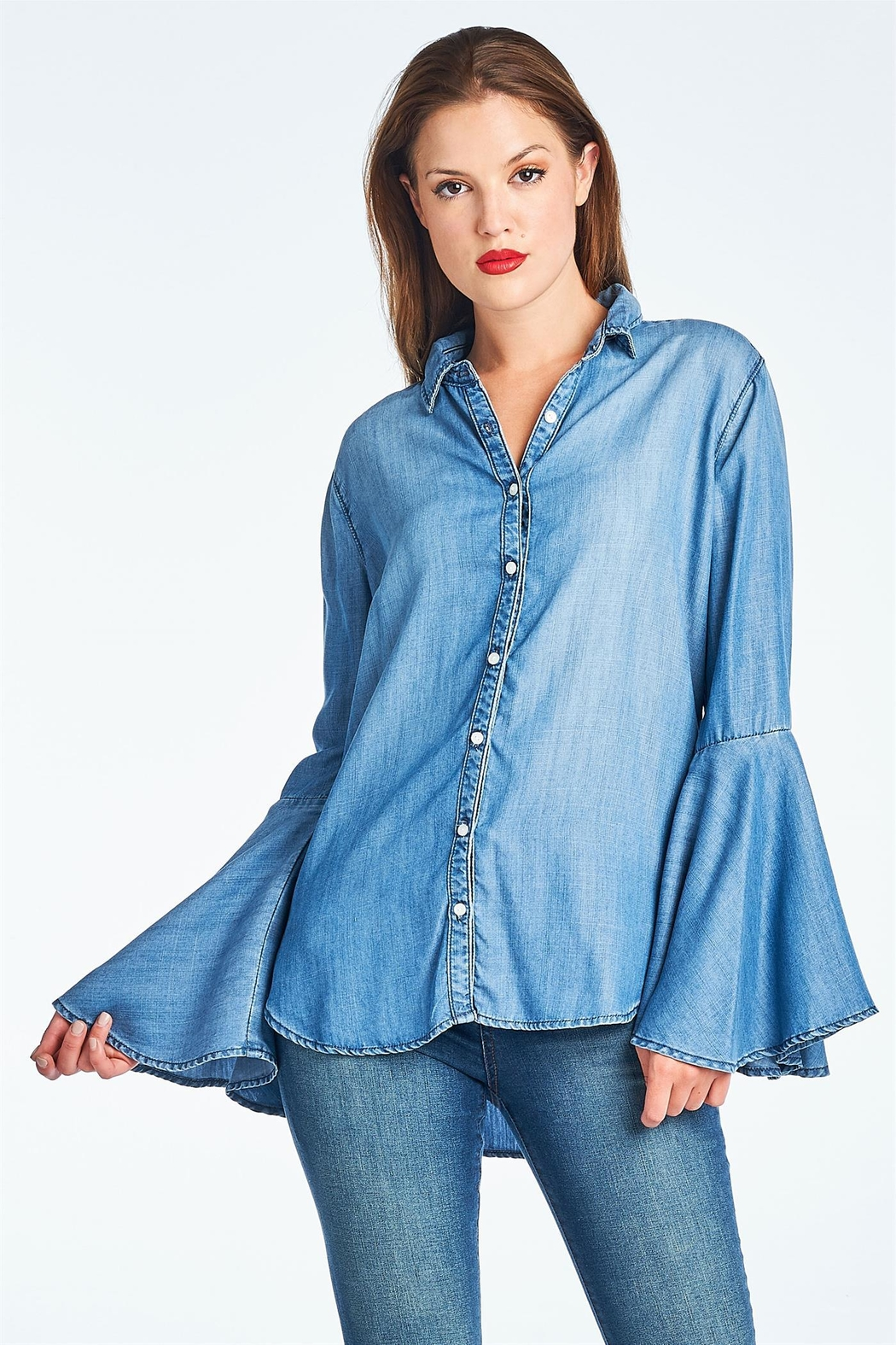 Sneak Peak Bell Sleeve Blouse - Front Cropped Image