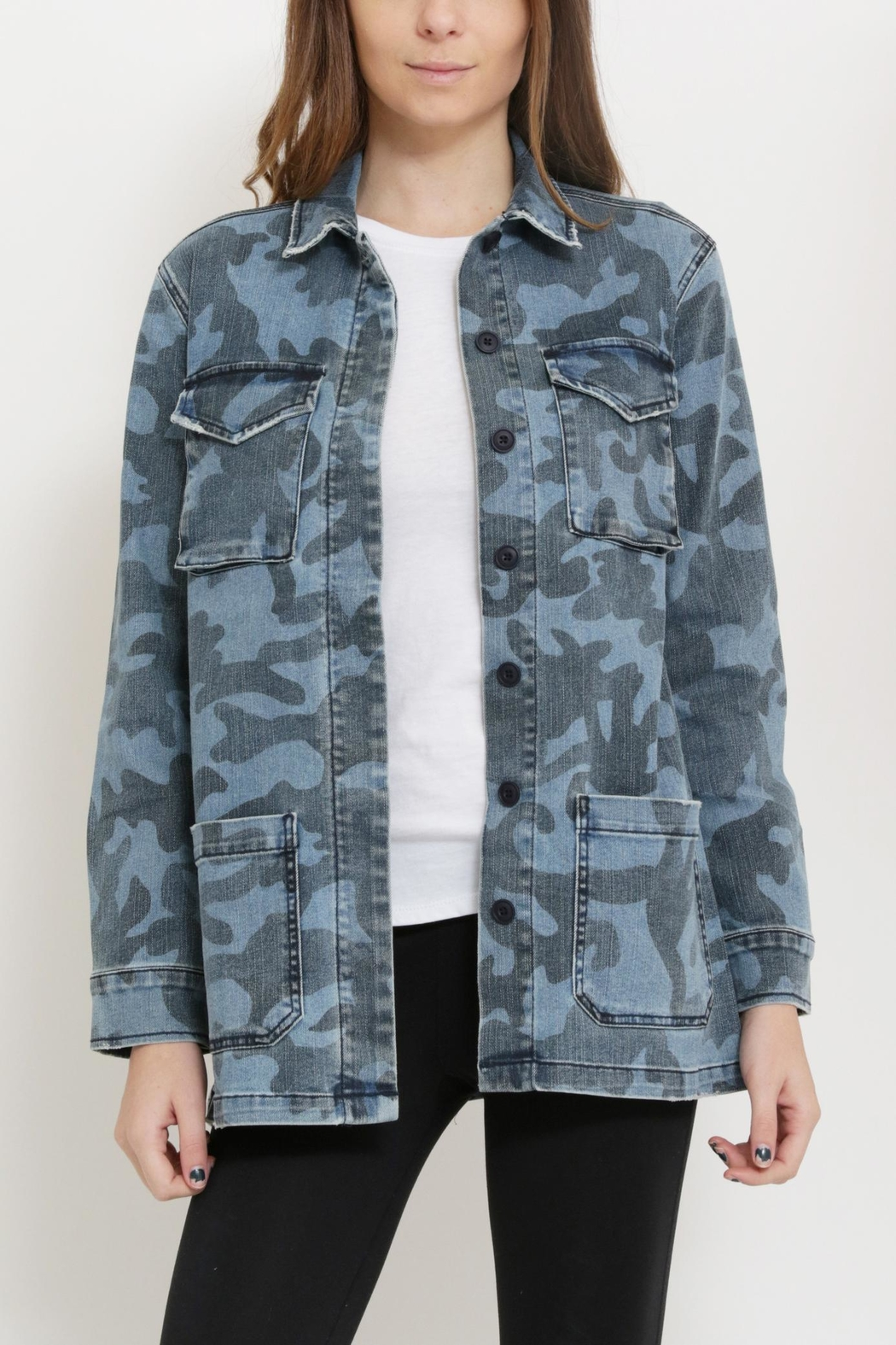 Sneak Peak Camouflage Print Jacket - Front Cropped Image
