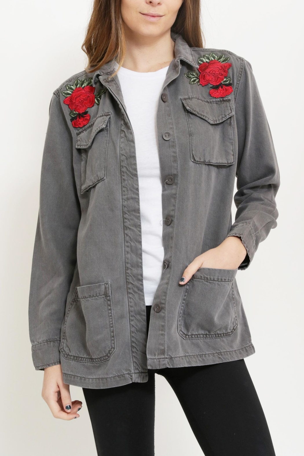 Sneak Peak Patched Military Jacket - Front Cropped Image