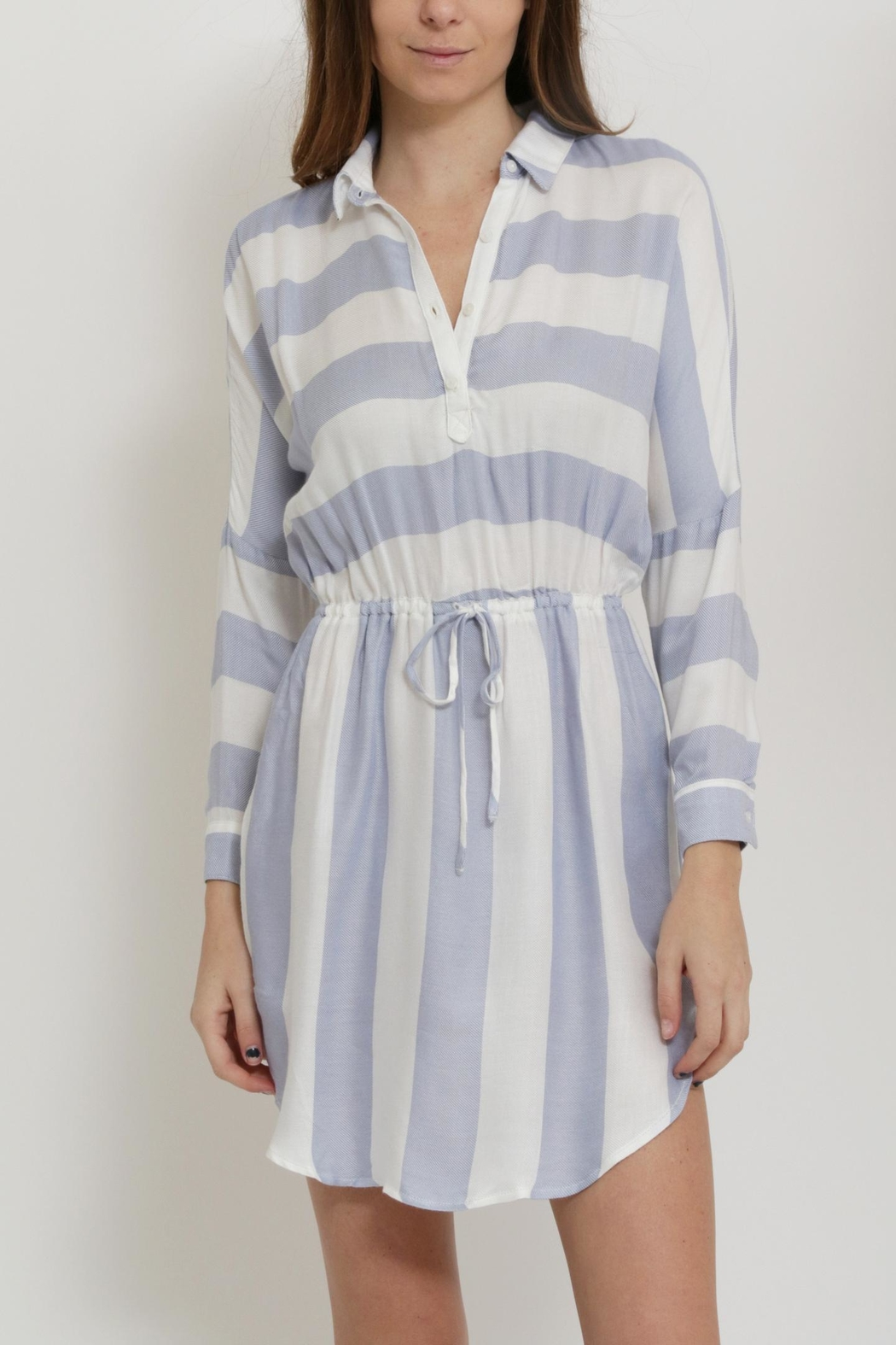Sneak Peak Striped Shirt Dress - Front Cropped Image