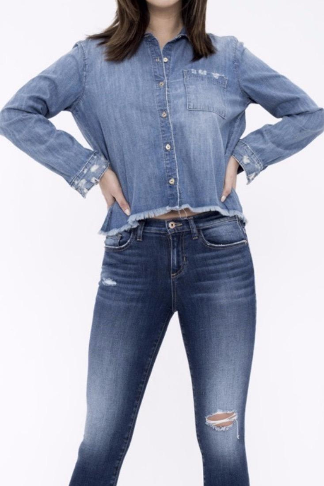 Sneak Peek Cropped Denim Shirt - Main Image