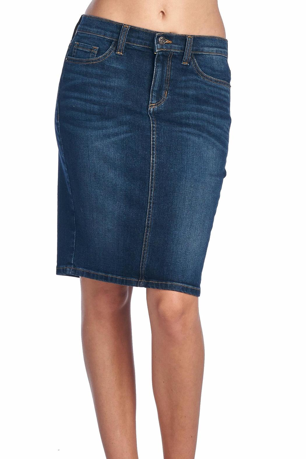Sneak Peek Dark Denim Skirt from St. George by The NOOK — Shoptiques