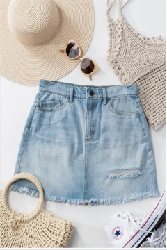 Sneak Peek Denim Cutoff Miniskirt - Alternate List Image