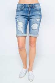 Sneak Peek Distressed Bermuda Shorts - Product Mini Image