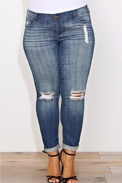 Sneak Peek Distressed Cuffed Jeans - Product List Image
