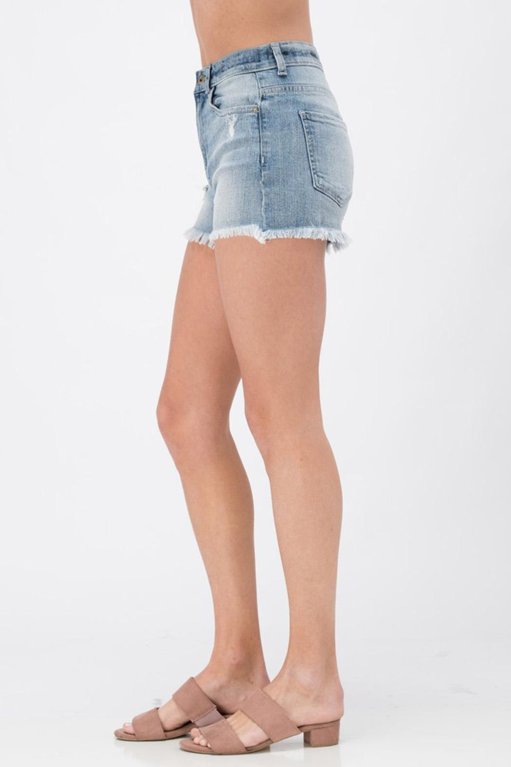 Sneak Peek Distressed Cut-Off Short - Front Full Image