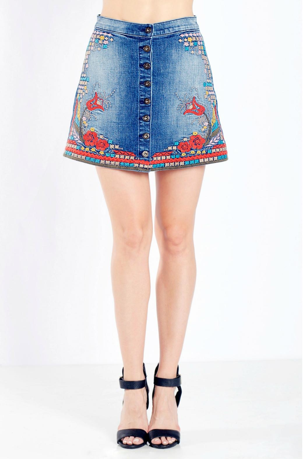 Sneak Peek Embroidered Denim Skirt - Front Cropped Image