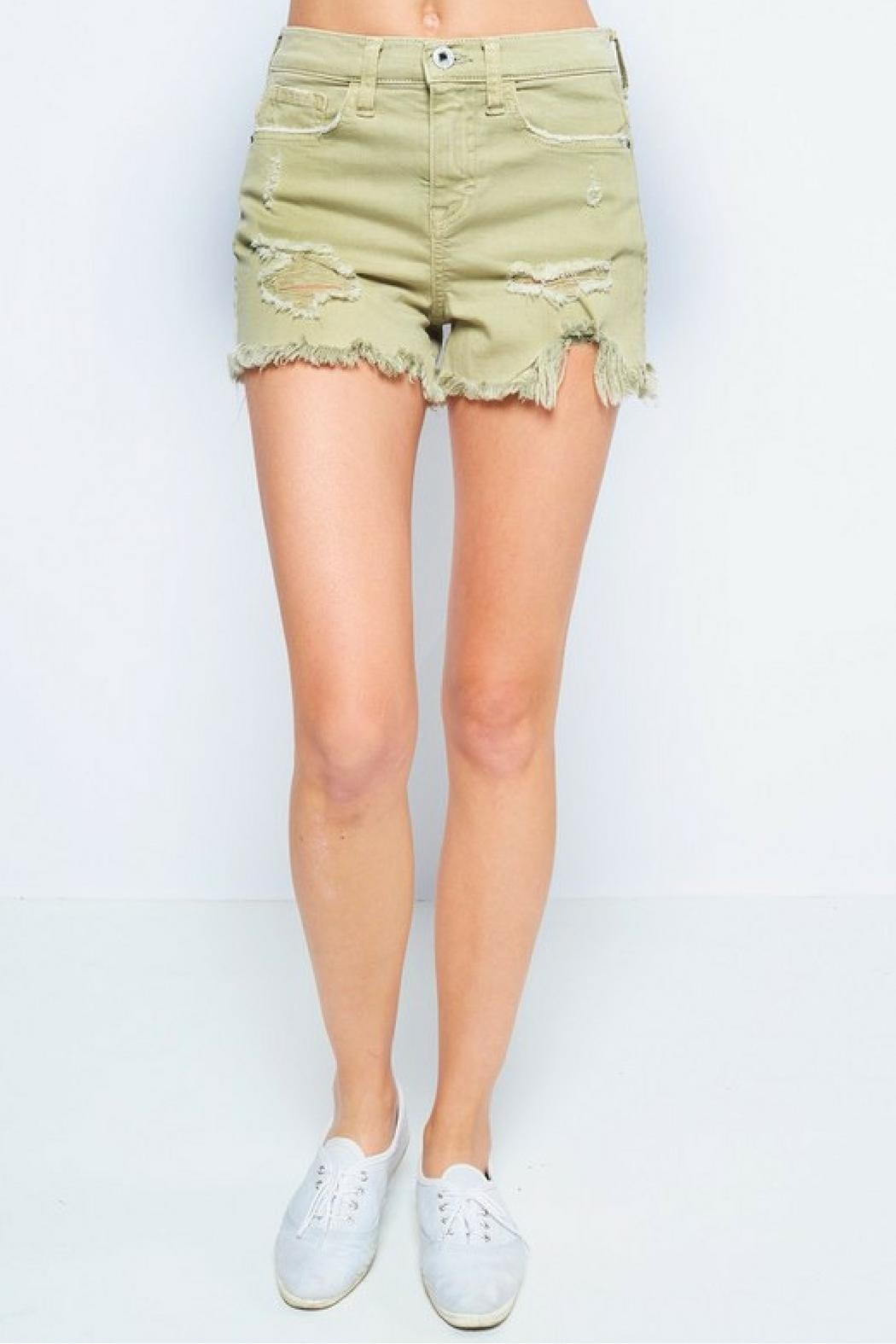 Sneak Peek Green Distressed Shorts - Front Cropped Image