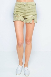 Sneak Peek Green Distressed Shorts - Front cropped