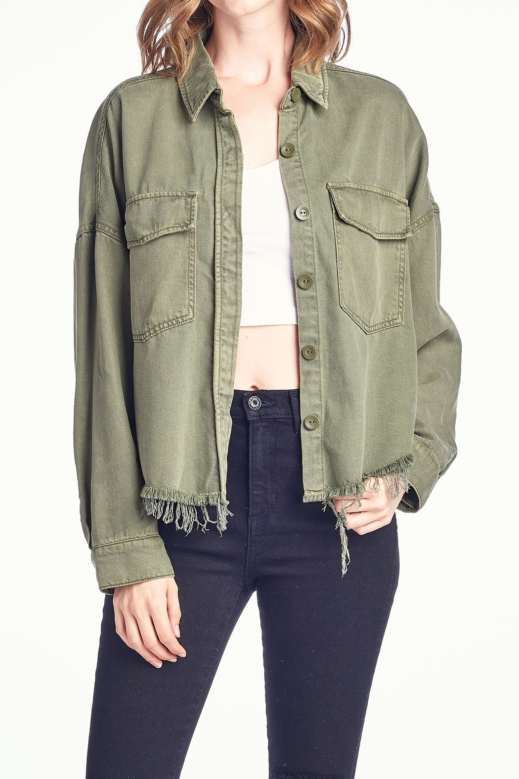 Sneak Peek Olive Denim Jacket - Main Image