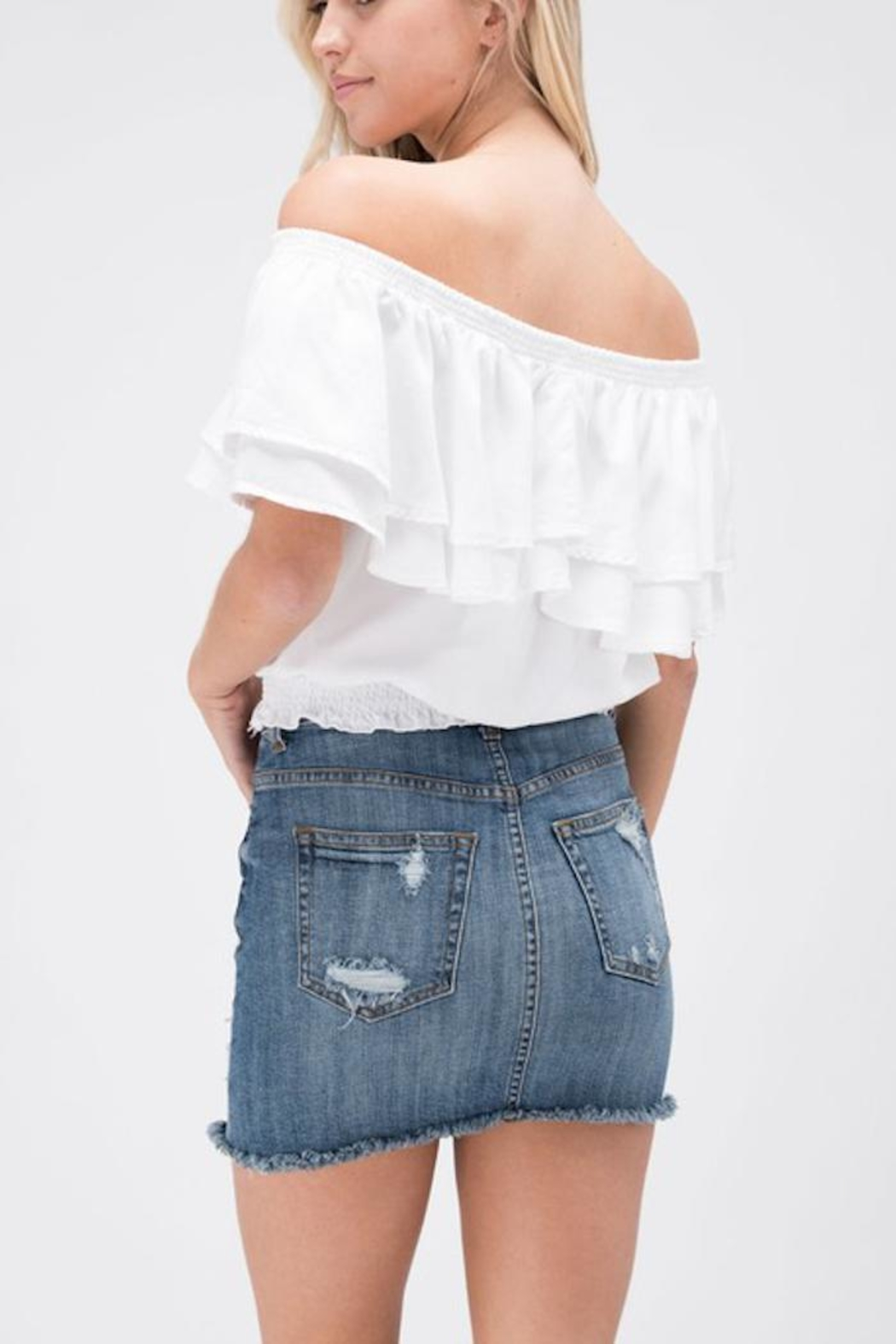 Sneak Peek Rip Denim Skirt - Side Cropped Image