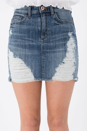 Sneak Peek Rip Denim Skirt - Front full body