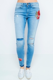 Sneak Peek Skinny Embroidered Jeans - Product Mini Image